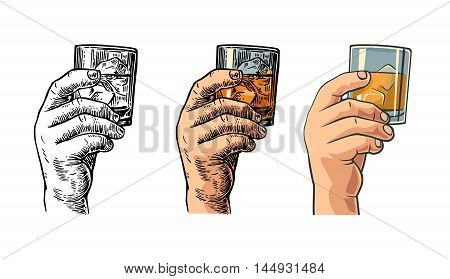 Male hand holding a glass with whiskey and ice cubes. Drawing in three graphic styles. Vintage vector engraving and flat illustration for web poster invitation to party and birthday.
