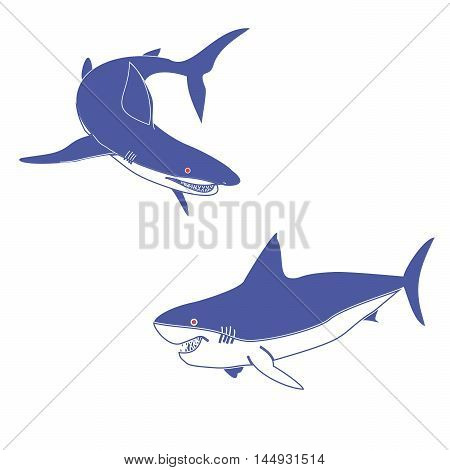 Vector illustration of a logo of two blue sharks.Isolated in the drawing,consists of predators,fish,fins,tail,red eyes,gills,teeth,jaws close-up on a white background.Icon for the fishing,catch,meat.