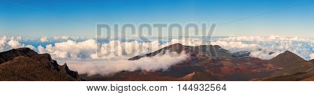 Panorama from the Summit of Haleakala, Maui, Color Image, USA