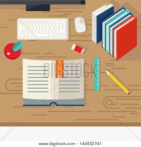 School books design with educational literature computer equipment and stationery on beige textural desk vector illustration
