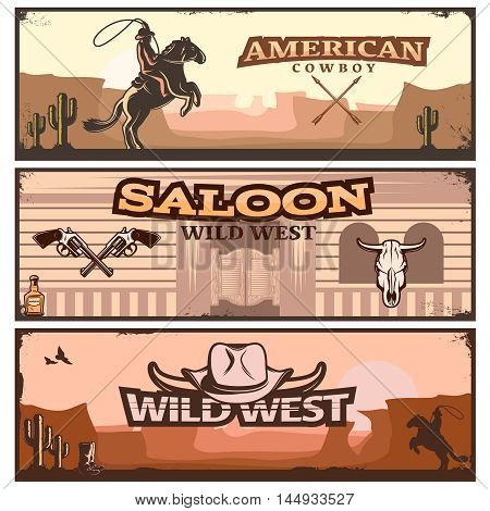 Three horizontal wild west banner set with American cowboy saloon wild west and wild west descriptions vector illustration