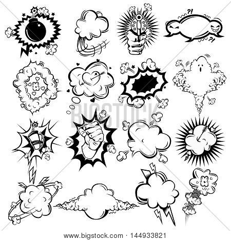 Comic monochrome speech bubbles collection of hand drawn clouds with emotions and sound effects isolated vector illustration