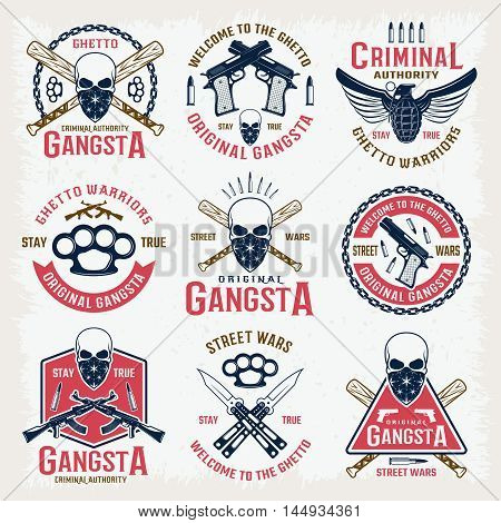 Gangster colored emblems with bandit mascot crossed bats edged weapon  and firearm isolated vector illustration