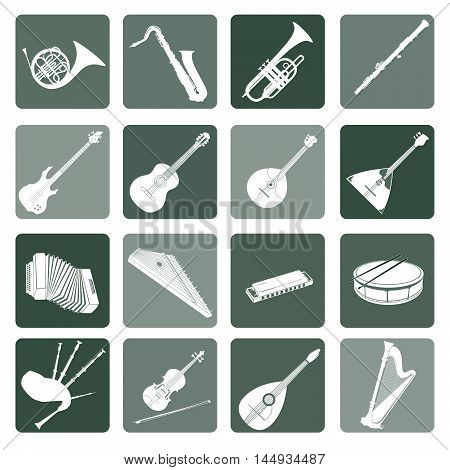 Musical instruments icon set. Folk classical jazz ethnic rock music symbols