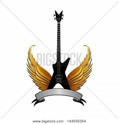 Musical sign with winged guitar silhouette. Rock music symbol. Electric guitar with wings and bow ribbon for text.