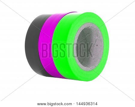 Black purple green insulation tape coils isolated on white background