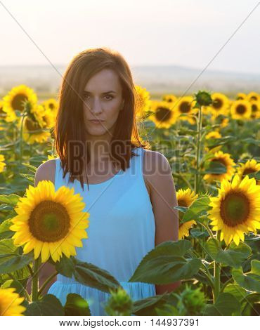 Woman in sunflower field at sunset time