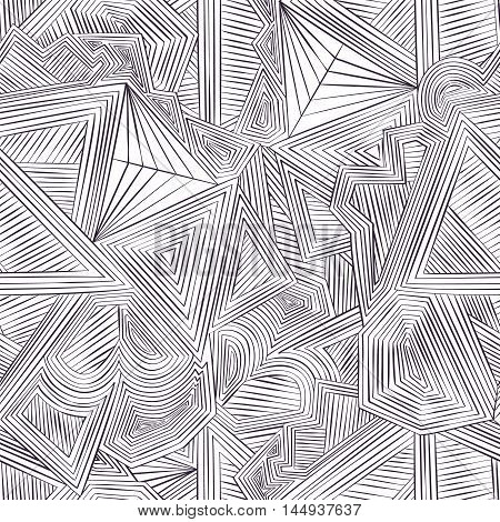 Seamlessly repeatable geometric cellular pattern. Abstract monochrome background.