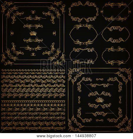 Set of gold decorative hand-drawn floral element, corner, seamless borders, frames, filigree dividers, crown on black background. Page, web site decoration in vintage style. Vector illustration EPS 10