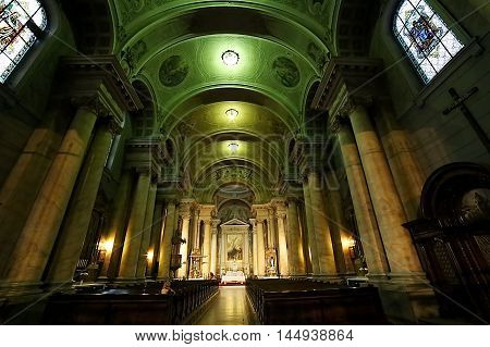 ARAD ROMANIA - AUGUST 26 2016: Inside in the catholic cathedral from city Arad Romania.