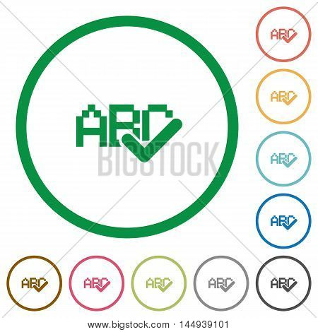 Set of spell check color round outlined flat icons on white background