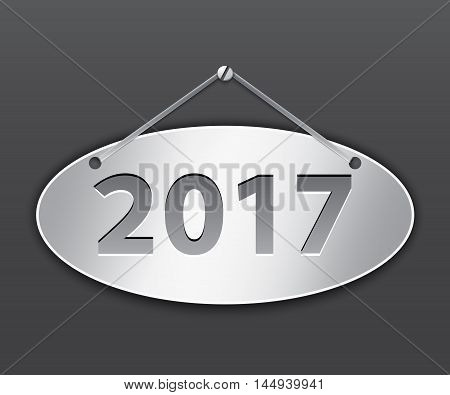 Metallic oval tablet for 2017 year. Vector illustration