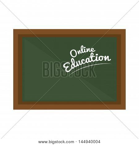 green school chalkboard with online education  tittle learning vector illustration
