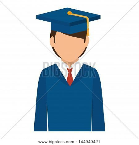 man wearing graduate hat academic graduation university achivement vector illustration
