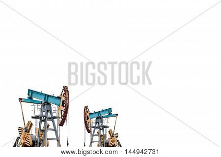 Oil pumps on white background. Isolation of oil pumps.