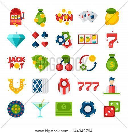 Casino 25 Flat Icons