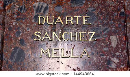 SANTO DOMINGO, DOMINICAN REPUBLIC - Jan 24 2016: Altar de la Patria, The Altar of the Homeland Statues. Tomb remains of the founding fathers of the Dominican Republic: Duarte, Sanchez, Mella.
