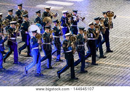 MOSCOW RUSSIA - AUGUST 26 2016: Spasskaya Tower internationa military music festival. The Greek Hellenic Military Massed Band at the Red Square