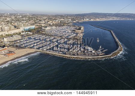 Redondo Beach, California, USA - August 16, 2016:  Aerial view of Redondo Beach Marina near Los Angeles, California.