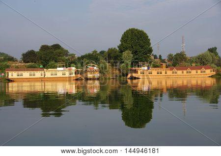 Houseboats in Srinagar in Kashmir, in India