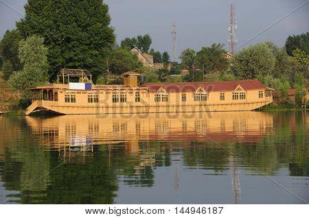 Houseboat in Srinagar in Kashmir, in India