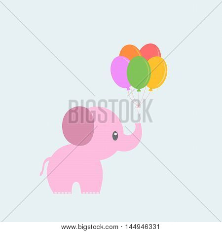 Pink elephant with balloons. Cute baby Card.