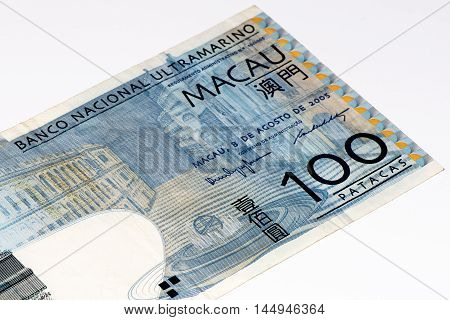 100 Macanese pataca bank note. Macanese pataca is the national currency of Macau