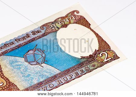 2 rupees bank note of India. Rupee is the national currency of India