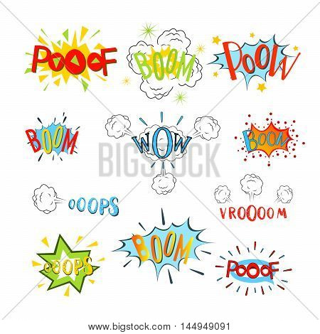 Comic speech bubbles set. Design cartoon graphic communication vector