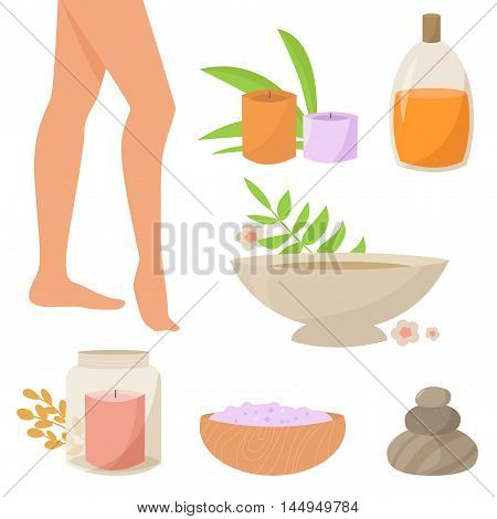 Spa therapy for legs. Vector isolated illustration. Flat. Spa, candles, bath, salt, mineral, water oil rocks plants Candle in glass jar
