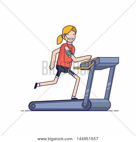 The girl goes in for sports on a treadmill while listening to music through the phone. woman running in the gym. People strengthens health exercise. Thin line vector illustration in flat style