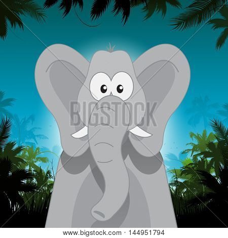 Cute cartoon vector elephant in front of jungle background