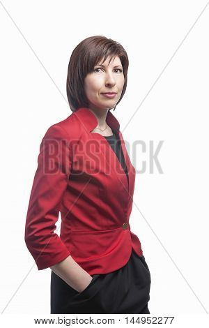 Portrait of Executive Businesswoman.Isolated Over White Background. Vertical Image Composition
