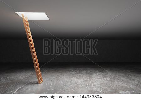 Wooden ladder in dark grey basement leading out to light. Freedom concept. 3D Rendering