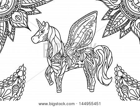 Unicorn with mandala and paisley ornament. Horizontal adult coloring page. Vector illustration. Fantastic animal. Horse with fairy wings. Whimsical floral decor. Outlined hand-drawn doodle image.