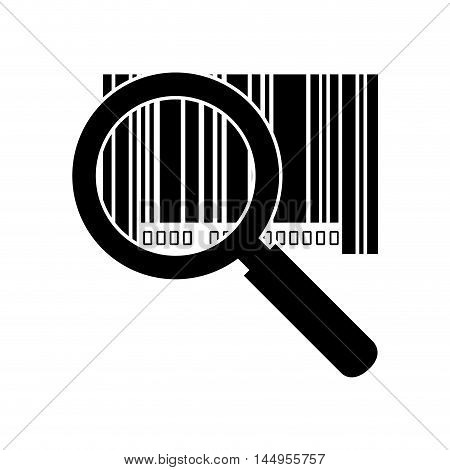 lupe magnifying glass barcode with serial number data information scanner vector illustration