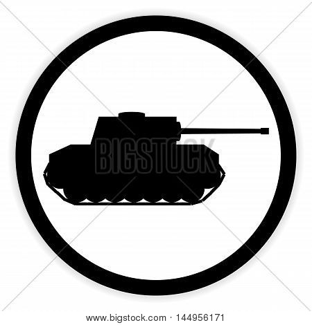 Panzer button on white background. Vector illustration.