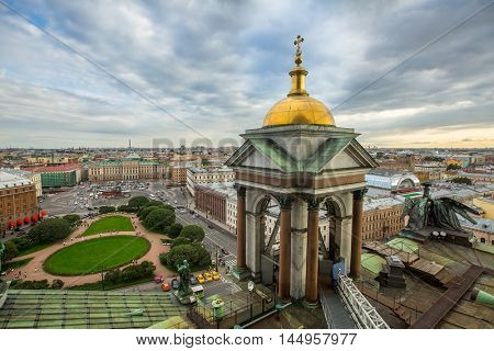 St.PETERSBURG, RUSSIA - AUG 19, 2016: Top view from the colonnade of St.Isaac's Cathedral. Is the largest Russian Orthodox cathedral (sobor) in the city, took 40 years to construct, from 1818 to 1858.
