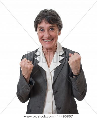 excited mature businesswoman
