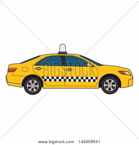 Vector colorful modern illustration of yellow car taxi isolated on white background. Can be used for business, info graphic, banner, presentations