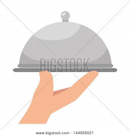 platter restaurant metal waiter plate service catering vector illustration