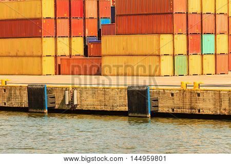 Various Containers Waiting In Port.