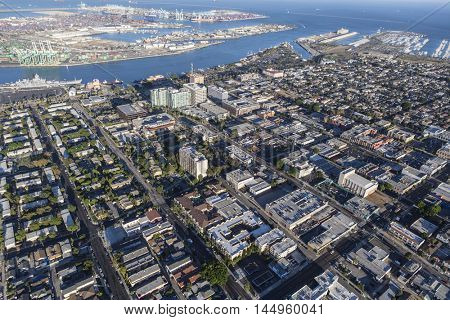 Los Angeles, California, USA - August 16, 2016:  Afternoon aerial view of downtown San Pedro in Southern California.