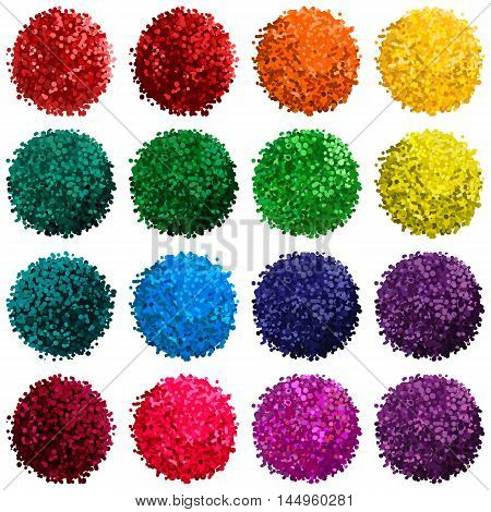 Vector colorful set with illustration of pompom isolated on white background for you design