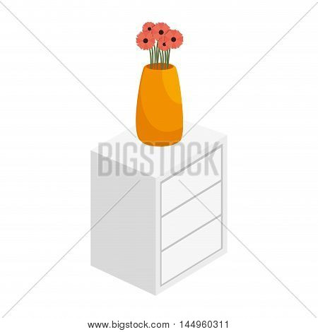chest of drawers with vase of flowers home furniture decoration vector illustration