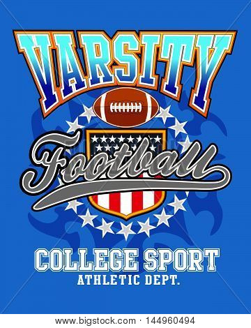 Varsity american football vector illustration for T-shirt printed and poster
