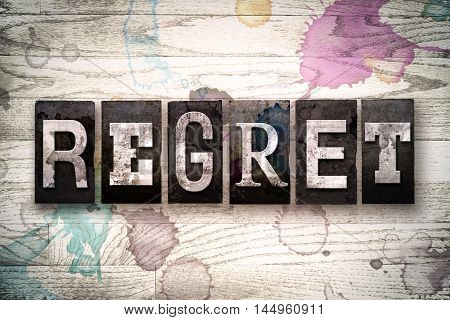 Regret Concept Metal Letterpress Type