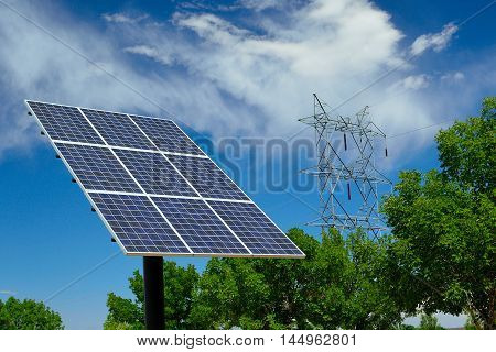 Solar Panel on a Sunny Day with High Tension Voltage Power Lines