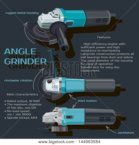 electric, steel, grinder, white, tool, power, engineering, vector, circle