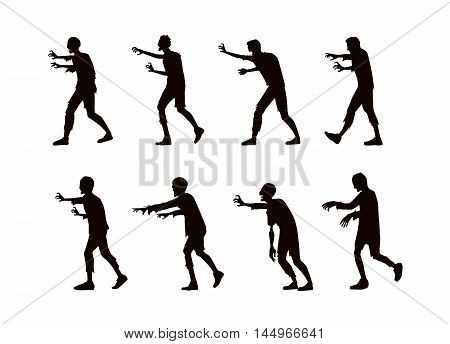 Vector zombie walking and reaching out hand in silhouette style.